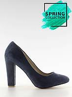 02-20 Синие женские туфли-лодочки на широком каблуке z-22p 40