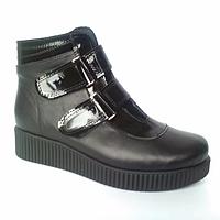 Ботинки из натуральной кожи черного цвета, на широкую ножку
