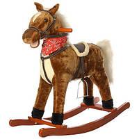 Качалка деревянная детская, лошадка, звуки, шевелит ушами M 0232-1