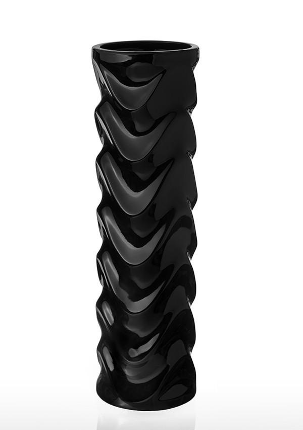 Ваза керамическая ETERNA (глянец черный, 13x13x45 см) 0004