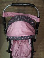301 Кукольная коляска-трансформер 2в1 с переноской Adbor Mini Ring (розовый(светлый), горошек на сером), фото 1