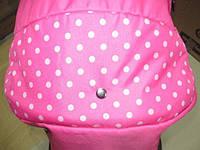 301 Кукольная коляска-трансформер 2в1 с переноской Adbor Mini Ring (розовый, горошек на розовом), фото 1