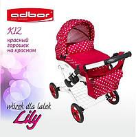 302 Лялькова коляска LILY TM Adbor (К12, червоний, горошок на червоному)