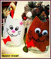 Чашка в одежде. Чехол на чашку. Подарок. Коты, котики, белый, красный, коричневый