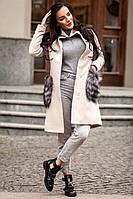 Кашемировое утепленное женское стильное  пальто с меховыми карманами