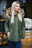 Куртка парка зимняя женская с натуральным мехом на капюшоне енот