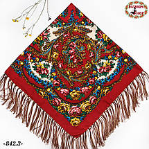 Красный павлопосадский платок Осенний круговорот, фото 3