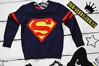 Вязанный свитер Супермен темно-синего цвета  для мальчика 2,3,4,5,6,7 лет(рост 98,100,110,15,120,125)