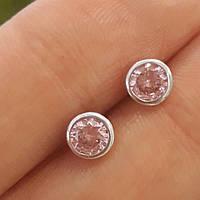 Серьги гвоздики с розовым камнем Серебро 925 диам. 5 мм