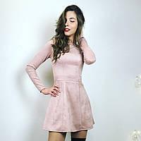 Замшевое платье с расклешенной юбкой