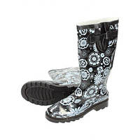 01-04 Черно-белые женские резиновые сапоги NEW AGE 808158 kwiaty piwnica