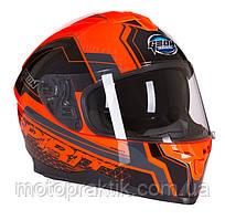 GEON 967 SPIRIT Black/Orange, XS (53-54) Мотошлем интеграл со встроенными очками