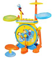 Детская барабанная установка с ударниками и микрофоном 1402