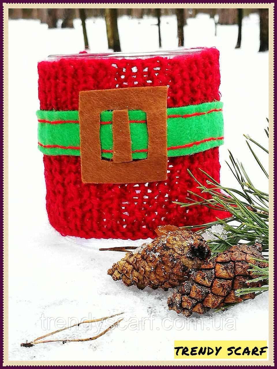 Чашка в одежде. Чехол на чашку. Подарок. Красный, зеленый, ремень, ремешок, вязь