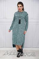 Длинное теплое платье с удлиненной спинкой ангора меланж Размеры:44, 46, 50, 52, 54, 56