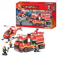 Конструктор SLUBAN M38-B0222 (16шт) Пожарные спасатели,машина,вертолет,409дет,в кор-ке 42,5-28,5-7см