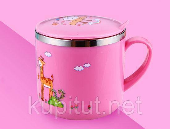 Чашка небитка з кришкою дитяча «Famliy» (рожева)