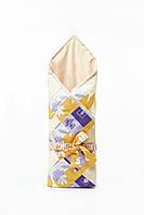 """Конверт-одеяло для новорожденных """"желто-фиолетовое"""""""