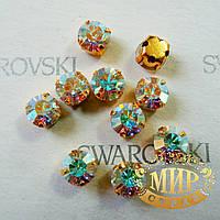 Сваровски в золотых цапах цвет Crystal AB 5.3мм*1шт