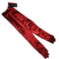 Бордовые перчатки, длинные