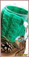 Чашка в одежде. Чехол на чашку. Подарок. Зеленый, вязь