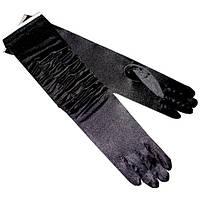 Перчатки черные с жаткой, длинные