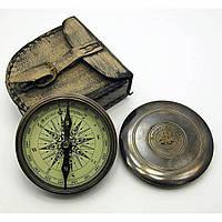 Компас бронзовый в кожаном чехле BRASS Antique Finish Poem Compass диаметр 8 см