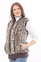 Меховой жилет из искусственного эко меха леопард хаки 44-52 размеры