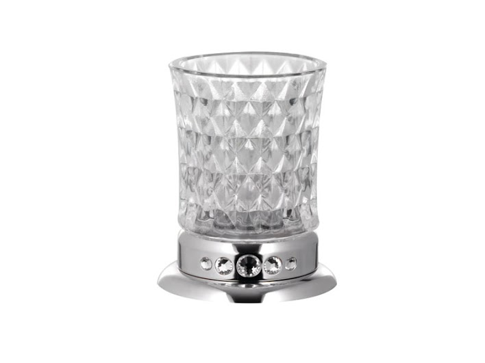 Стакан для зубных щеток KUGU Swan Freestand 350C  (латунь, хром, стекло)
