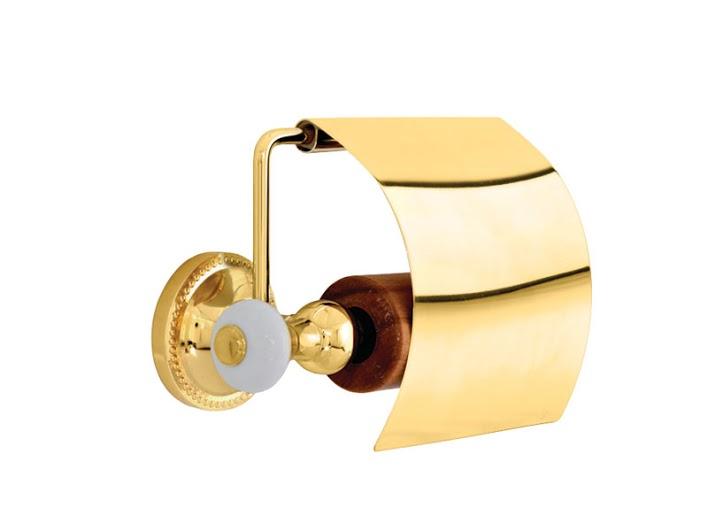 Держатель для туалетной бумаги KUGU Pan 011G (латунь, золото, керамика)