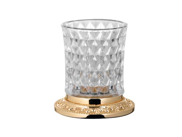Стакан для зубных щеток KUGU Odeon Freestand 450G  (латунь, золото, стекло)