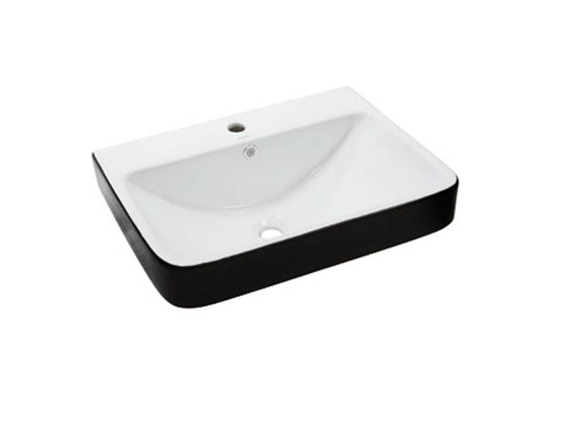 Раковина накладная керамическая NEWARC Countertop 60 (5014BW) черный/белый, с/п, (46*60.5*20)