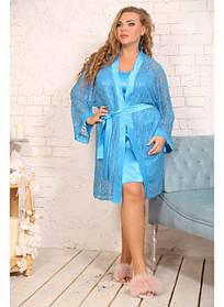 Женский комплект Звезда цвет голубой / размер 48-72 / большие размеры