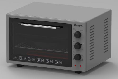 Духовка электрическая (1500 Вт / 42 л ) Saturn ST-EC3801 серая