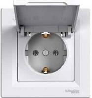 Пылевлагозащищенная розетка с крышкой и заземляющим контактом ASFORA IP44, белая, Schneider Electric