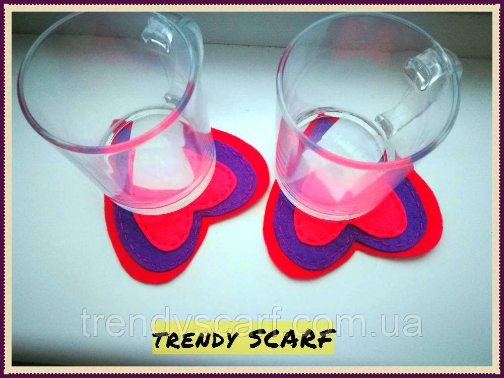 CUPHOLDER - подставка для чашки. Сердечки. Сердце. Розовый, фиолетовый