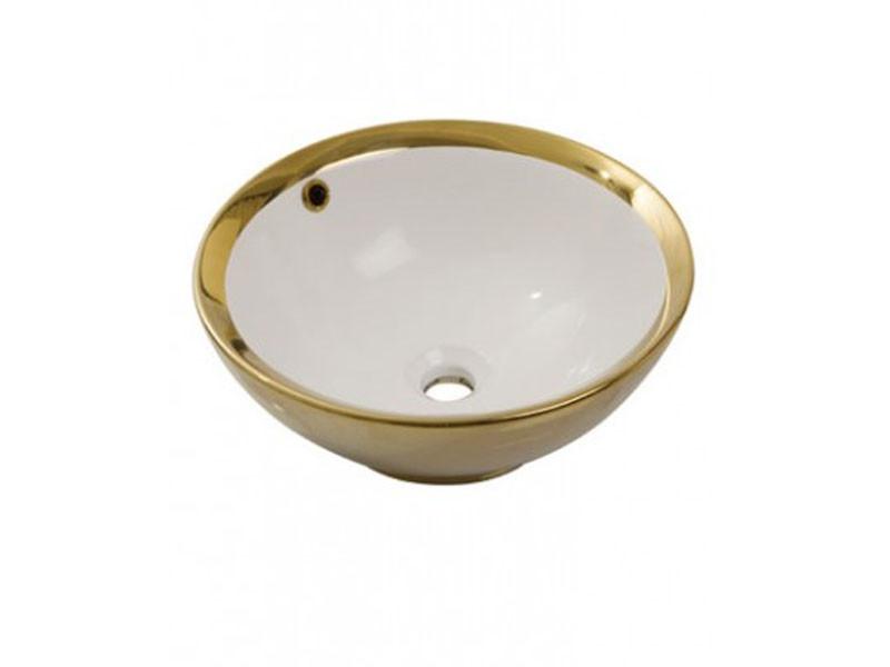 Раковина накладная керамическая NEWARC Newart countertop 42 (5010G-W) золото/белый, с/п, (42*42*16)