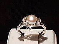 Серебряное кольцо Бусинка с жемчугом. Артикул 1776/9р-PWT