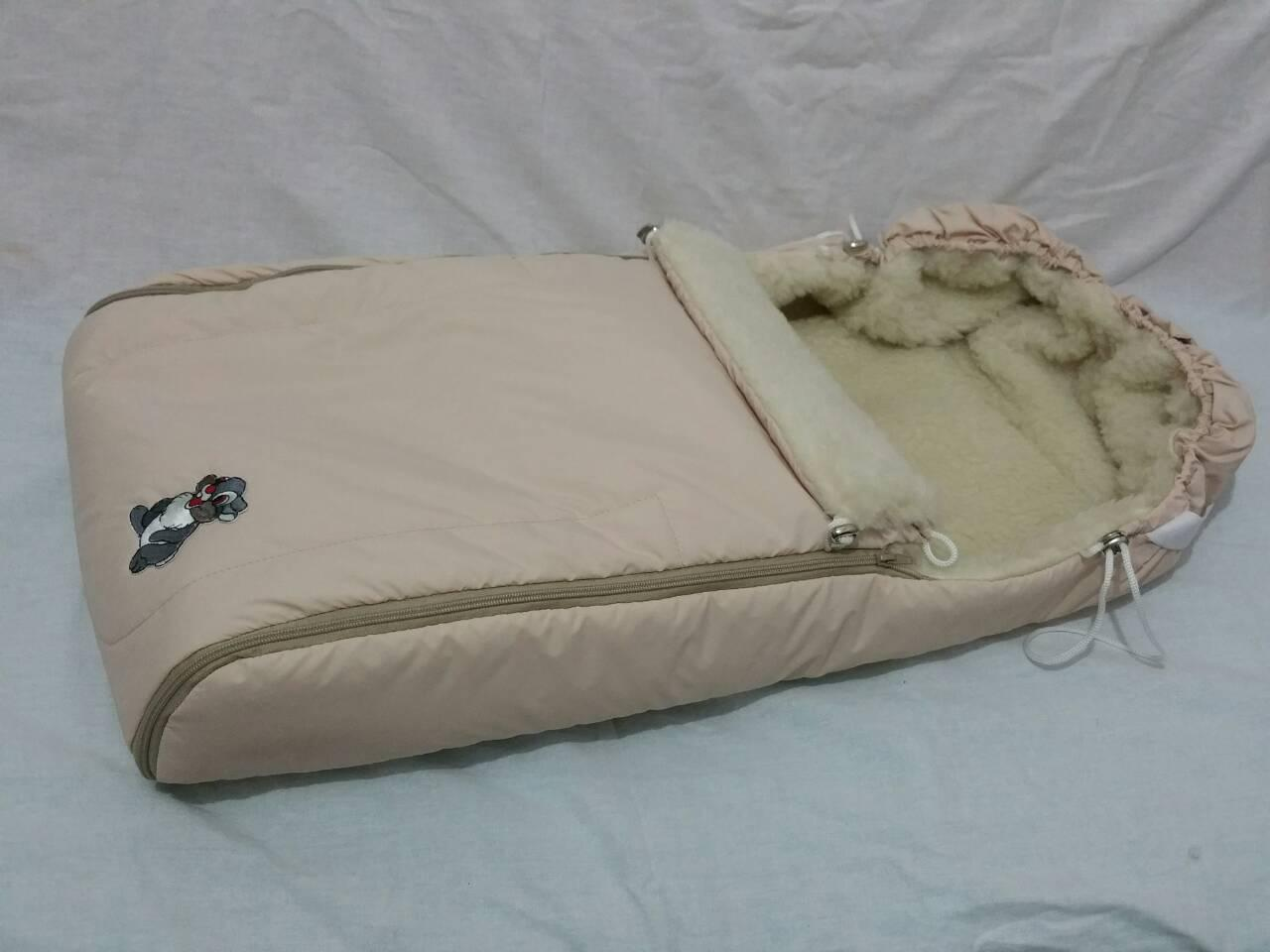 Зимний чехол на овчине в коляску санки