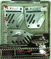 Накладки на педали (хромированные с черными резиновыми вставками, газ-тормоз-сцепление)