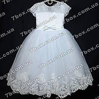 Детское нарядное платье бальное Бархатное (белое) Возраст 6-7 лет., фото 1
