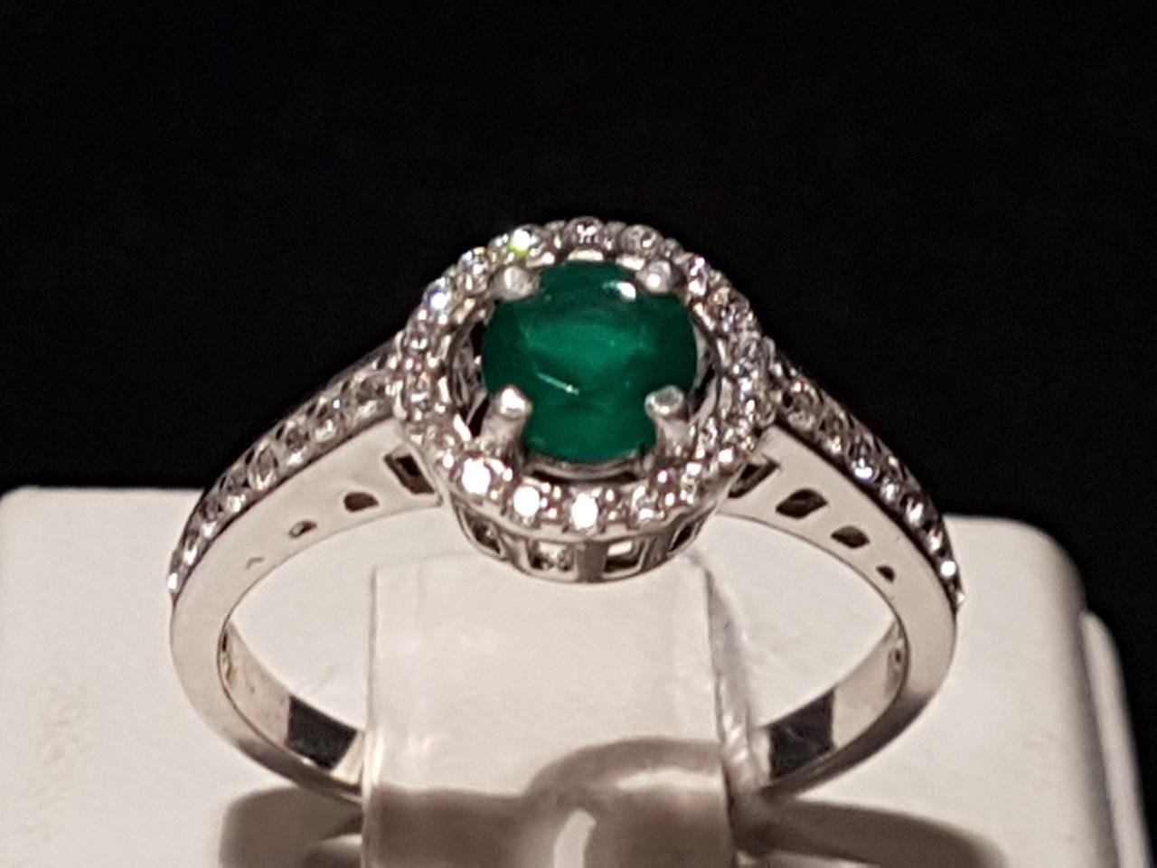 Серебряное кольцо Алина с агатом. Артикул 1691/9р-GAG 16,5