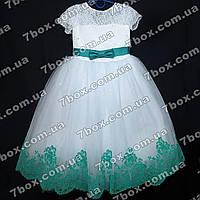 Детское нарядное платье бальное Бархатное (белое+мятный) Возраст 6-7 лет., фото 1
