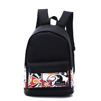 Чорний міський рюкзак з принтом