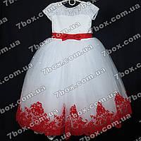 Детское нарядное платье бальное Бархатное (белое+красный) Возраст 6-7 лет., фото 1