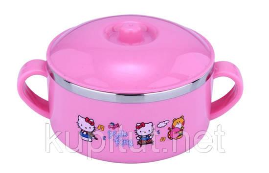 Чашка-супница небьющаяся с крышкой детская «Doraemon» (розовая)
