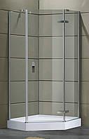 STEFANI душевая кабина пятиугольная 90*90*205 см, на мелком поддоне (15 см), распашная, стекло прозрачное