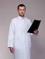 Мужской медицинский халат белый воротник стойка