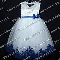 Детское нарядное платье бальное Бархатное (белое+синий) Возраст 6-7 лет., фото 1