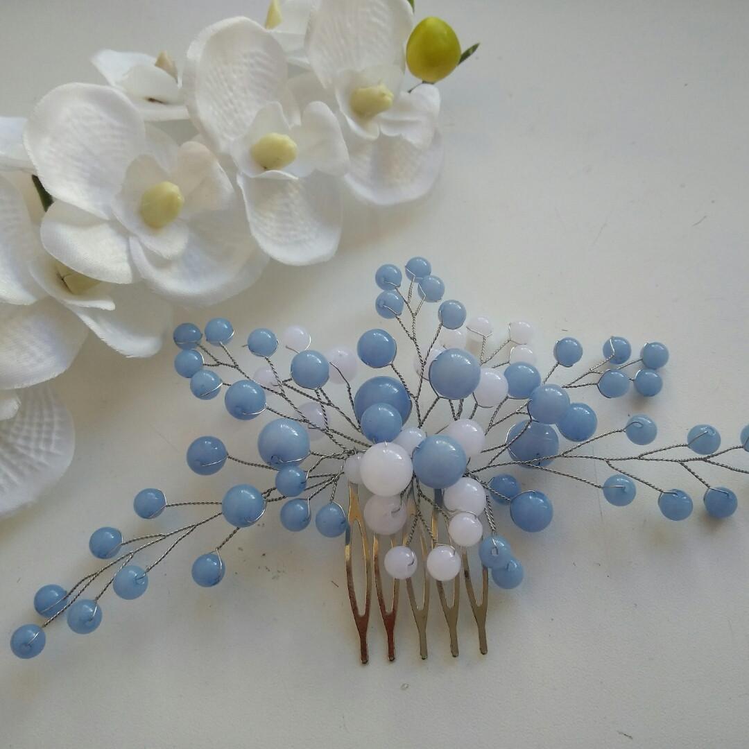 Бело-голубой гребень для волос